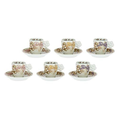 THUN - Set 6 Tazzine caffè - Cucina, caffè al Volo - Idea Regalo - Linea Cerimonia - Porcellana - 100 ml; Ø 6 cm; h 6 cm; piattino Ø 12 cm