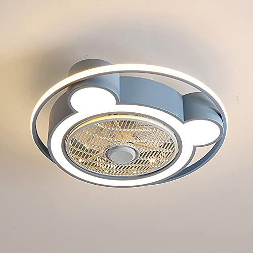 Ventilador de Techo con Luz LED, Ventilador de Techo con Luces Regulables para Dormitorios, Sala de Estar, Comedor, 3 Velocidades, 3 Cambios de Color,Azul