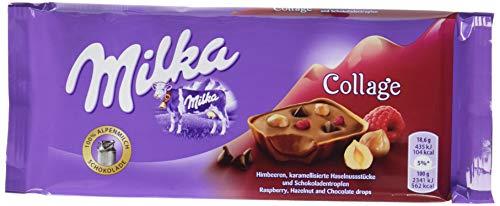 Milka Collage Himbeere - Zartschmelzende Schokoladentafel mit Himbeeren, Haselnuss-Krokant und Schokoladentropfen - 18 x 93g