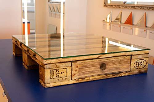 MySpiegel.de Glasplatte Glasscheibe für Euro Palettenmöbel 6mm 80x67 cm Polierte Kante Ecken gestoßen Durchsichtig Klar Glasboden Glastisch