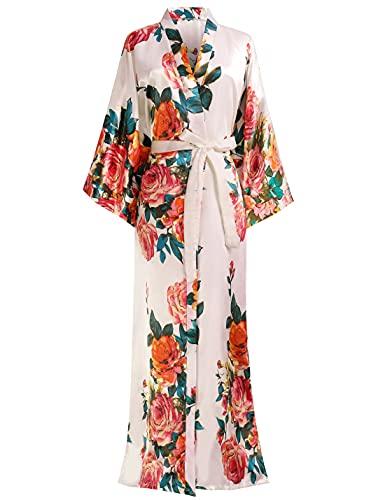 BABEYOND Kimono Robe Long Floral Bridesmaid Wedding Bachelorette Party Robe 53' (Pink)
