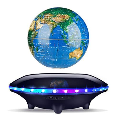 HAHALE Schwebende Lautsprecher Globe-Lautsprecher mit Weltkarte Muster 360-Grad Automatische Rotation LED-Farblicht Bluetooth 4.0 für Schlafzimmer Wohnzimmer Studenten Geburtstags-Geschenk,Schwarz