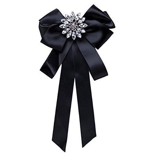 YAZILIND exagerado Flor de Diamantes de imitación Grande Gran Arco Broche de la Cinta Mujeres Ramillete de joyería (Negro)