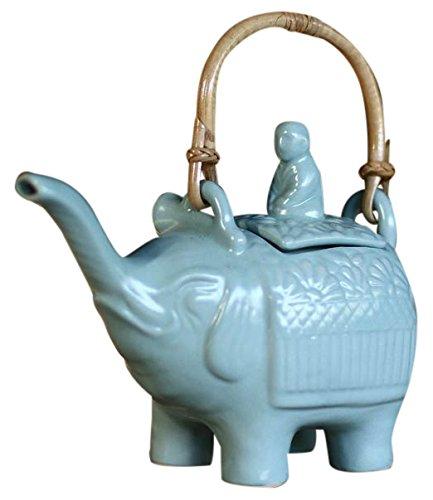 NOVICA Light Blue Ceramic Teapot with Rattan Handle, 27 Oz, Buddha and The Turquoise Elephant'