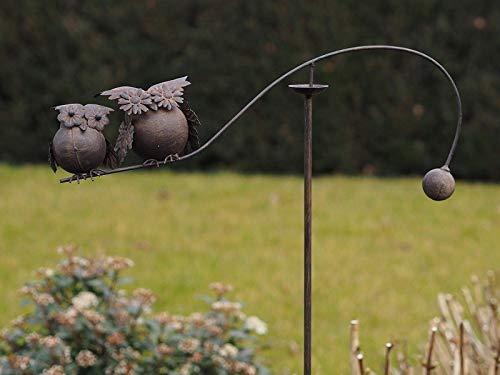 Thermobrass Windspiel XXL Wippe Gartendeko Gartenstecker Figur Außendeko Gartenfigur Vogel Eule Uhu Kautz aus Metall - Handarbeit - 140 x 10 x 60 cm