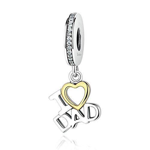 Ik hou van papa 100% 925 sterling zilver Ik hou van papa liefde hart hangers fit DIY bedels armbanden kralen en sieraden maken SCC052