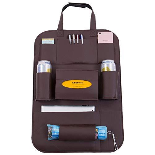 WSKIRNL 2Pcs Auto Rückenlehnenschutz,Auto Organizer Bag/Sitz Hängende Tasche Tasche Leder Klappstuhl Gesäßtasche Kick Matten Autositz Rückenprotektor