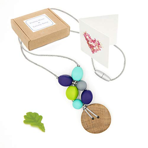 'Chêne Charme' Collier de dentition, Designer Teething Necklace & Gift Box; Natural Wood Oak Pendant & Silicone Beads Jewellery