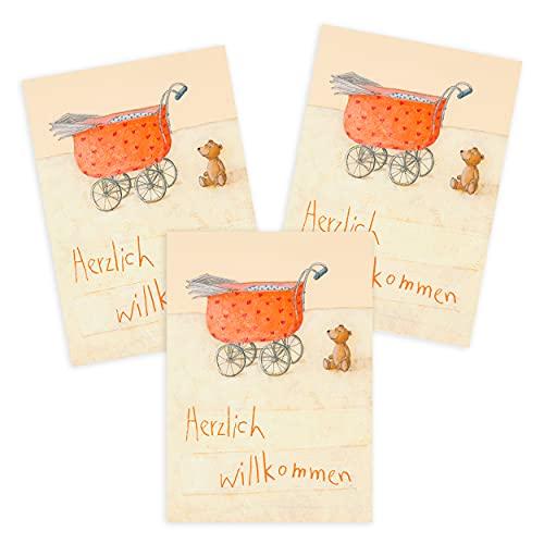 3er Set Glückwunschkarten zur Geburt für Mädchen und Jungen