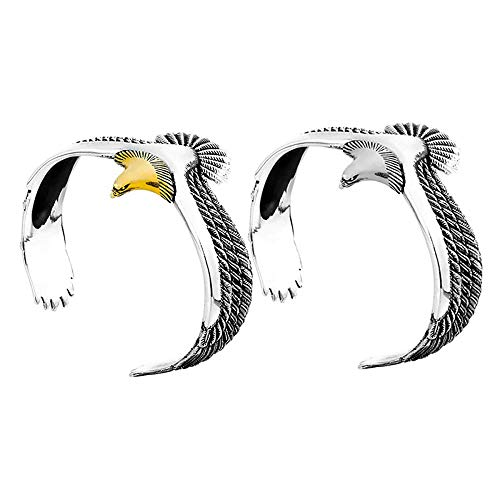 Mrs. Li's shop S925 Sterling Silver Eagle Cuff Bracelet Men Women Creative Open Bangle Cuff Jewelry Adjustable Eagle Cuff Wrisband Open Ended Bangle Couple Bracelet for Valentine s Day -Silver&Gold