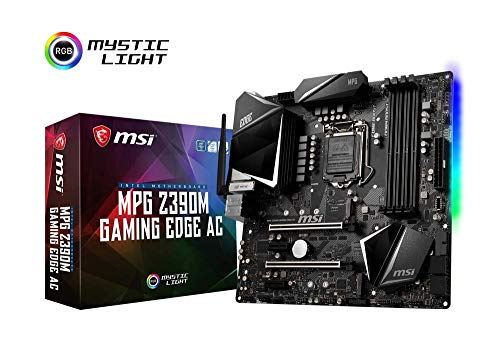 MSI MPG Z390M GAMING EDGE AC - Placa base Performance (LGA 1151, 2 x PCI-E 3.0 x16, DDR4 Boost, Intel Wireless-AC 9560, 3 x USB 3.1 Gen2, Mystic Light RGB LED, Bluetooth 5.0)