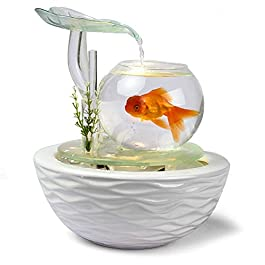 LSHUAIDJ Aquarium water ornaments living room desk surface glass fish tank crafts humidifier rockery fountain water view TV cabinet ceremony