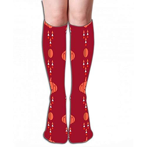NGMADOIAN High Socks Halloween patroon vakantie design sjabloon bourgbomen vleermuis volle maan verfrissende tegel L 19,7 'in (50cm)