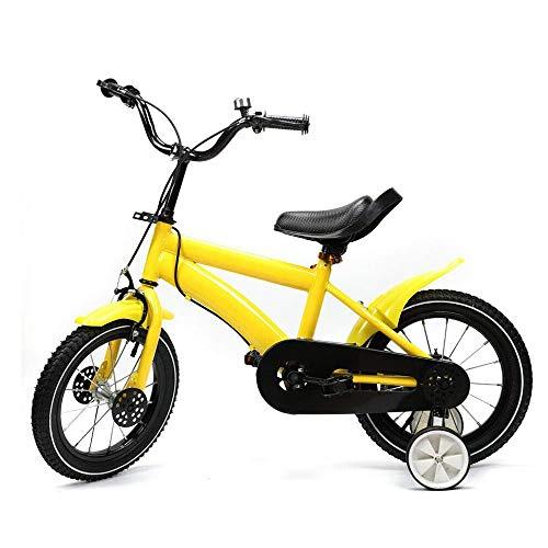 14 Zoll Kinderfahrrad für Mädchen und Jungen ab 3-6 Jahre mit Abnehmbare Stützräder, Fahrrad für Kinder (Gelb)
