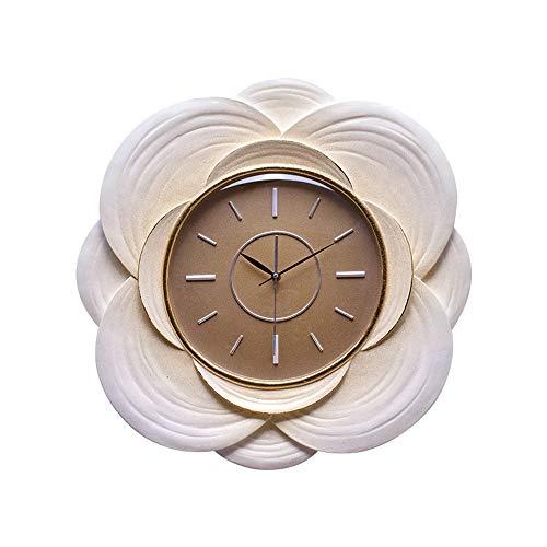 BGROESTWB Relojes de Pared Idílico Sala Inicio Moderado Vestir Restaurante Ronda de Bolsillo de la decoración Creativa de la Tabla Sala de Estar Decorativa (Color : Gold, Size : 56x10x56cm)