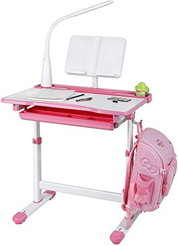 Kinderschreibtisch mit Lampe Buchstütze und Schublade 70x53x54 bis 76cm(LxBxH) (Pink)