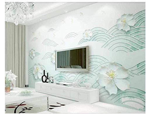 3D muurschildering behang bloemen frisheid abstract mint groen Hill muursticker sticker papier tv sofa achtergrond woonkamer kind slaapkamer kantoor wooncultuur (W)150X(H)105cm