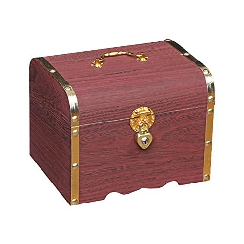 ALEOHALTER Banco de almacenamiento de joyas, caja de almacenamiento del tesoro, caja de almacenamiento de joyas vintage con cerradura, cofre del tesoro de madera (tamaño: L)