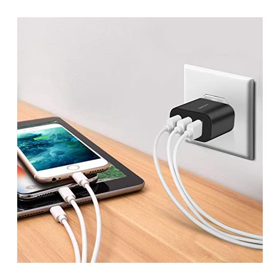 Wall Charger, Amoner Upgraded 2Pack 15W 3-Port USB Plug Cube Portable Wall Charger Plug for iPhone Xs/XS Max/XR/X/8/7/6/Plus, iPad Pro/Air 2/Mini 2, Galaxy9/8/7, Note9/8, LG, Nexus and More 4 Upgraded 15W 3-Port Wall Charger - The upgraded wall charger makes the power output more stable. CE/FCC certificated, built-in safeguards protect your devices against over-current, over voltage and short-circuit Upgraded Charging Technology - With Smart IC technology, the wall charger will automatically detect and provide the fastest possible charging speed up to 2A one port or 3A total Wide Compatibility - This Wall Charger can be used as iPhone wall charger, compatible with iPhone Xs,Xs Max, Xr, X, 8, 7, 6 Plus, Samsung Galaxy S10/S9/S8/Plus/S7/Note 8/9/7, Moto Z2/Z Force, LG V20/V30/G7/G6/G5, Lumia 950 & XL, Google Pixel 3/2 & XL; Kindles and more
