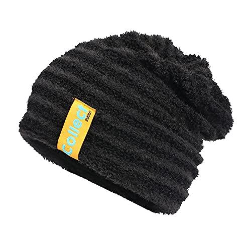 ManxiVoo Men Women Slouchy Beanie Striped Warm Thick Lined Winter Hats Beanies Knit Warm Skully Stocking Hat (Black)