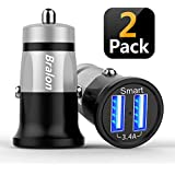 USB Car Charger,Bralon 2-Pack Ultra Compact Dual Port 3.4A/18W Smart Output Compatible with iPhone Xs Max XR X 8 7 6 5 Plus,Galaxy Note S10 S9 S8 S7 S6 Edge Plus,iPad Pro/Air 2/Mini and More