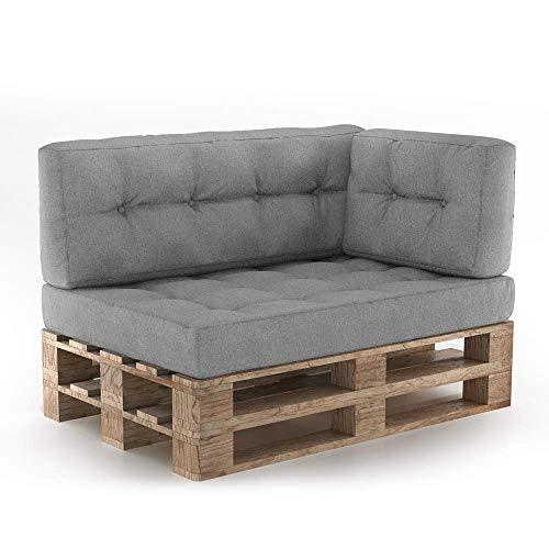 Vicco Palettenkissen Sitzkissen + Rückenkissen + Seitenkissen 15cm hoch Palettenmöbel (Sitz+Rücken+Seitenkissen, Grau)