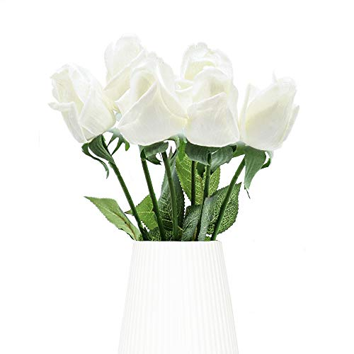 Rose Artificiali, 6 Pezzi Real Touch Stelo Lungo e Foglie Verdi, Fiori di Seta, Rosa Bianca Finta Perfetta per Bouquet da Sposa, Compleanno, Casa, Ufficio, Decorazione Fai da te