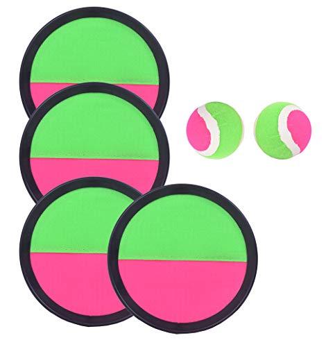BeBuy24 Klettball - Spiel Catchball mit 4 Fangscheiben 2 Bälle Klettballspiel