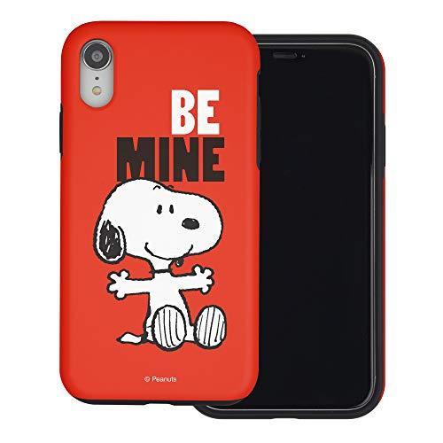 iPhone XR ケース と互換性があります Peanuts Snoopy ピーナッツ スヌーピー ダブル バンパー ケース デュアルレイヤー 【 アイフォンXR 】 (スヌーピー Be Mine 赤) [並行輸入品]