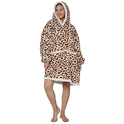 MU-PPX Manta Mujer De Sudadera con Capucha Pullover Calentita Pijama con Capucha Y Manta Perezosa De...