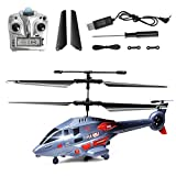 YESBAY Remote Control Helicopter, 2.4GHz RC Helicopter 4 Channel High Low Speed Indoor Flying Toy with Gyro LED Light for Adult Kid Beginner Aircraft Blue