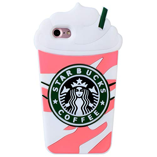 FunTeens Pink Coffee Cup Case for iPhone 8/7/6/ 6S 4.7',3D Cartoon Animal Cute Soft Silicone Rubber Character Cover,Funny Design Kawaii Fashion Cool Fun Skin for Kids Teens Girls(iPhone8/7/6)