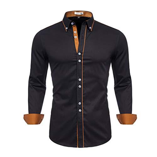 Camisa de Manga Larga para Hombre Camisa Profesional de Vestir Camisa de Manga Larga para Hombre Blanca Slim Fit Black09 EU Us Size XL