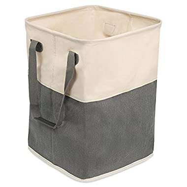 BirdRock Home Square Cloth Laundry Hamper with Handles | Dirty Clothes Sorter | Easy Storage | Foldable | Grey and White Canvas