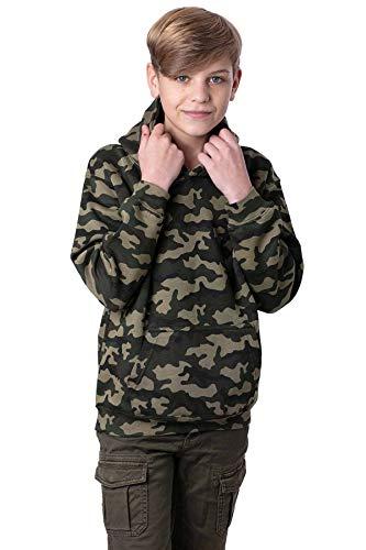 Mivaro Jungen Pullover Camouflage, Army Hoodie, mit Kapuze, Größe:122/128, Farbe:Camouflage