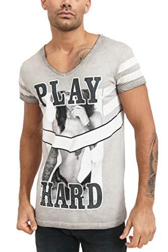trueprodigy Casual Herren Marken T-Shirt Einfarbig Crack Print Oberteil Cool Und Stylisch Mit V-Ausschnitt Kurzarm Slim Fit Shirt Für Männer, Farben:Darkgrey, Größe:XXL