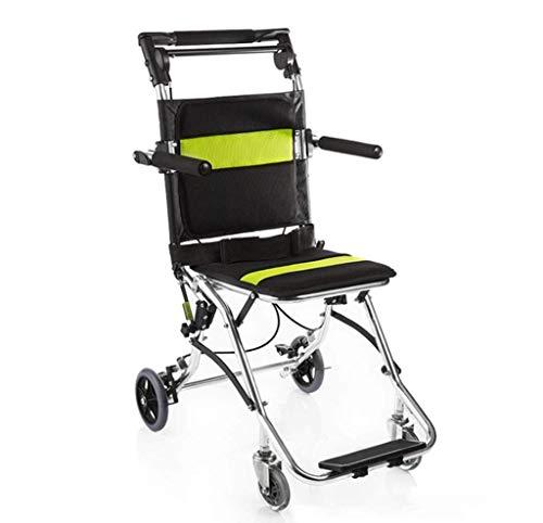 Z-SEAT Transport Wheelchair, Foldable Aluminum Handheld Boarding Travel Wheelchair with Integrated Handbrake and Parking Footbrake, with Handbag