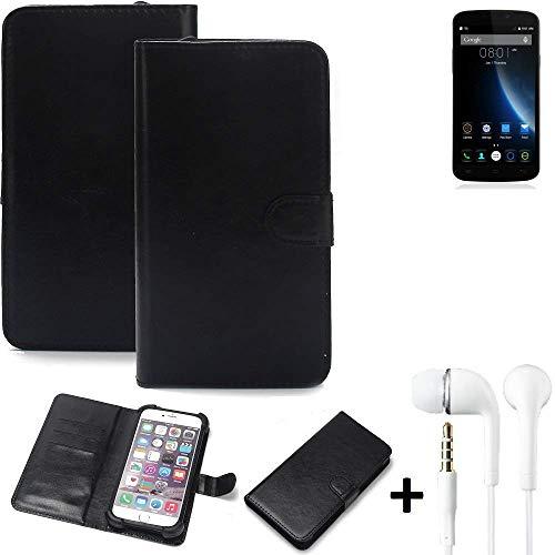 K-S-Trade® Wallet Case Handy Hülle Für Doogee X6S Schutz Hülle Smartphone Flip Cover Flipstyle Tasche Schutzhülle Flipcover Slim Bumper Schwarz + In Ear Headphones