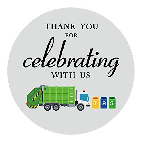 MAGJUCHE Garbage Trash Truck Party Thank You Stickers, Boy Birthday...
