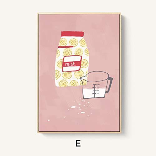 LiMengQi2 Nordic Handbemalte Milchflaschen Brot Wandkunst Leinwanddruck Malerei Cartoon Wandbilder für Esszimmer Morden Wohnkultur (kein Rahmen)