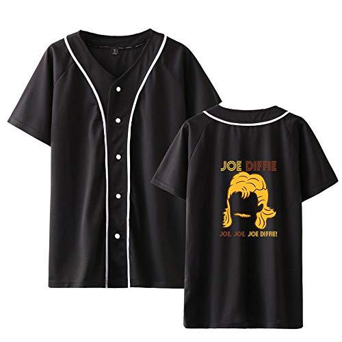Landove Joe Diffie T-Shirt V Hals Korte Mouw Unisex Zomer met Knop