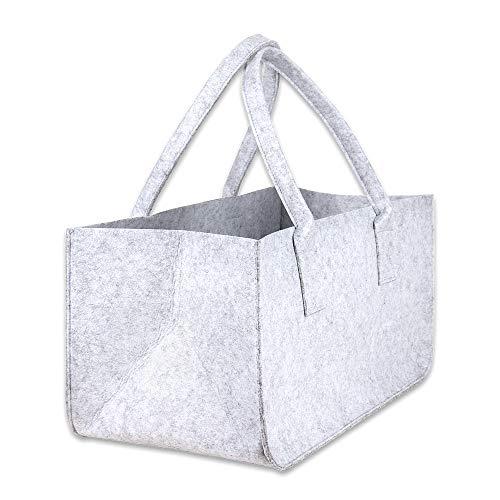 Schramm® 1 oder 2 Stück Filztasche Tasche aus Filz in hellgrau 50x25x25 cm Kaminholztasche Holzkorb Einkaufstasche Filzkorb Zeitungskorb Shopper Taschen Filztaschen, Anzahl:1