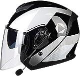 Casco Moto Abierto Medio Casco Cascos Half-Helmet Bluetooth Casco Moto Jet Medio Casco con Visera ECE Homologado Casco Abierto de la Motocicleta Casco para Adultos Hombres Mujeres D,XL