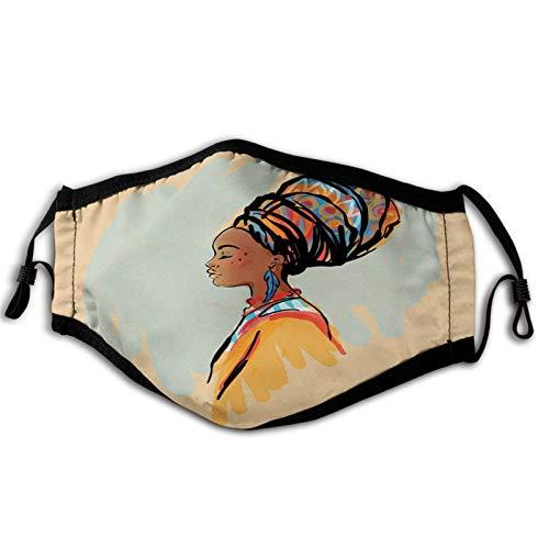 Afrikanisches Aquarell-Profil-Portrait der Ureinwohnerin mit Frisur und Ohrringen, pastellbraune Mundabdeckung für Frauen, Gesichtsmaske, wiederverwendbar, waschbares Tuch für Männer