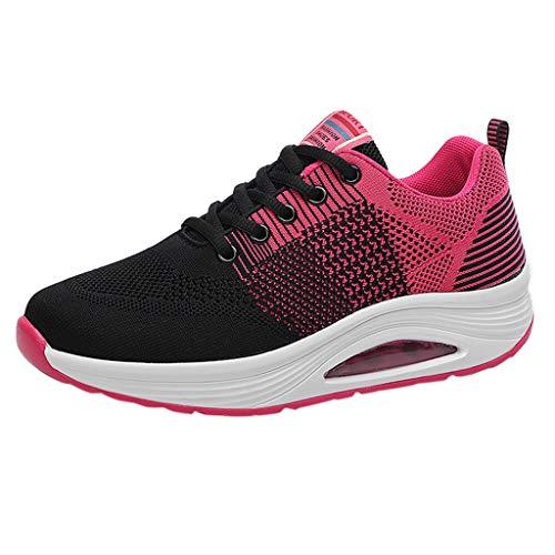 HDUFGJ Damen Sneaker Fliegendes Weben Mesh Atmungsaktiv Verschleißfest Laufschuhe rutschfeste Bequem Leichtgewicht Laufschuhe Faule Schuhe Freizeitschuhe Turnschuhe fitnessschuhe38 EU(Pink)