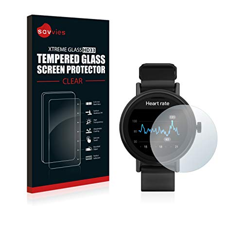 Savvies Panzerglas kompatibel mit Misfit Vapor 2 (46 mm) - Echt-Glas, 9H Festigkeit, Anti-Fingerprint