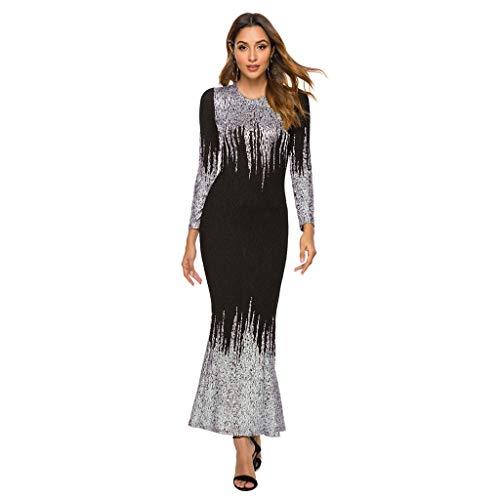 KEERADS Damen Elegante vestido de noche, cóctel, fiesta, tallas S-4XL plata S