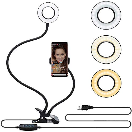 Velouer Selfie Ring Light with Cell Phone Holder Stand for Live Stream/Makeup, LED Camera Lighting [3-Light Mode] [10-Level Brightness] with Flexible Arms Compatible with iPhone 8 7 6 Plus X Android