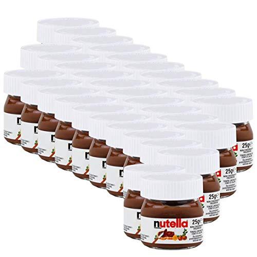 Ferrero Nutella Kleines Mini Design Glas 32er Set a 25g, Brotaufstrich, Nussnugatcreme, Schokoladen Auftrich