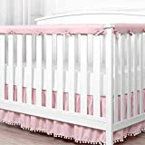 Hanshin 3-Piece Crib Rail Cover Protector Safe,Teething Guard Wrap for Standard Crib Rails,1 Front Rail and 2 Side Rails,Breathable Cotton Crib Rail Cover Set